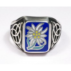 German Edelweiss silver ring