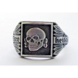 Silver German skull ring