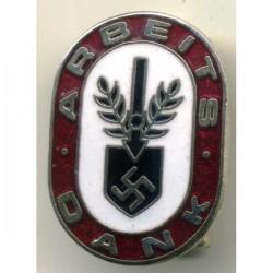 German WW II Red ARBEITS DANK pin