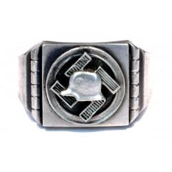 German WWII NSD Stalhelm silver ring