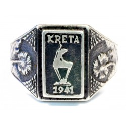 WW II German Silver Ring KRETA 1941