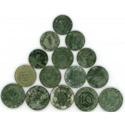 GERMANY 1 5 10 REICHSPFENNIG ZINC COINS