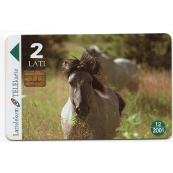 Latvian phone card Lattelekom Horses WWF