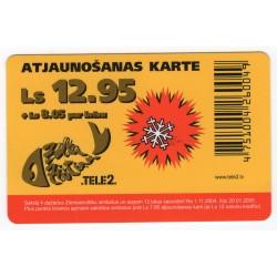 Latvian prepaid  calling card TELE 2 Ls 12.95
