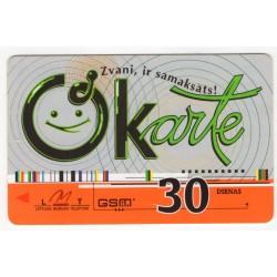 Latvian prepaid  calling card LMT OKarte