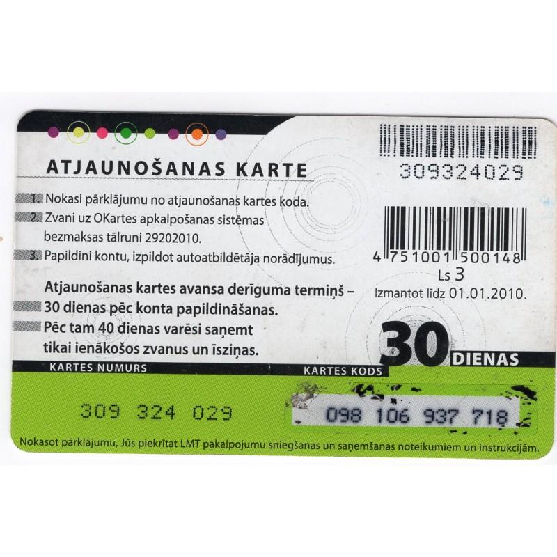 Latvian Prepaid Calling Card LMT OKarte For Sale