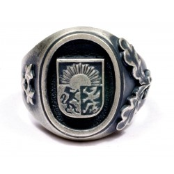 WWII German Silver Latvian Volunteer Ring 19 Division