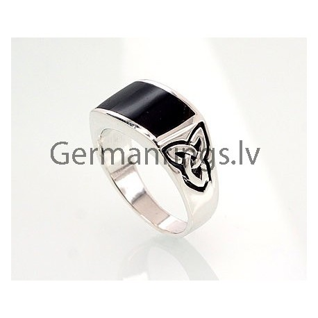 Silver ring with stone - onix