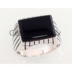 Silver ring with stone - onyx