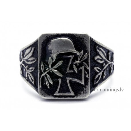 WW II German Silver Ring with helmet