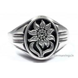 Кольцо с изображением эмблемы горных егерей Эдельвейса