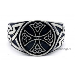 Silver Celtic Knot Knights Templar Cross Ring