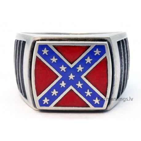 Silver Confederate Flag Ring