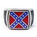 Silver AMERICAN REBEL Confederate Flag Ring