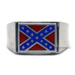 Silver Rebel Flag Wedding Rings