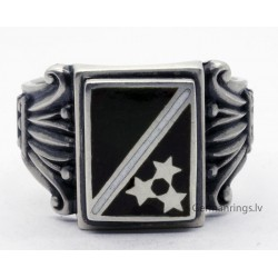 Patriotic Latvian enameled silver ring with 3 star