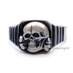 German Nazi WWII SS TOTENKOPF Death's Head Silver Ring