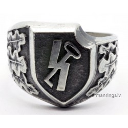 "German 12th SS Panzer Division ""Hitlerjugend"" silver ring"