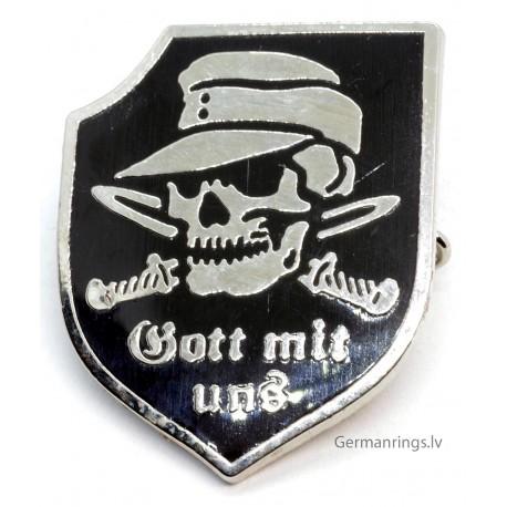 WWII German Skull Pin Badge with logo ''Gott mit uns''