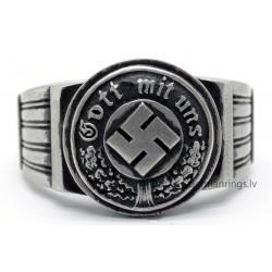 """German WW2 Silver Ring """"Gott mit uns"""""""