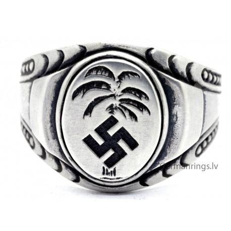 German WW2 Africa corpus silver ring