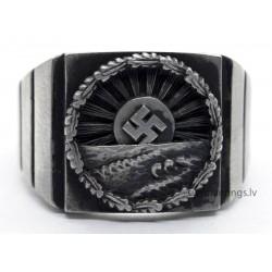 German Nazi WW2 Silver Ring with Swastika