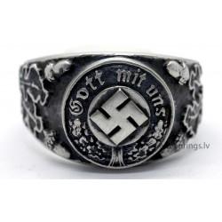 """Nazi German WW2 Silver Ring """"Gott mit uns"""""""