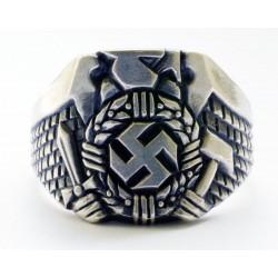 WWII German Hitler Jugend Silver Swastika Nazi Ring.