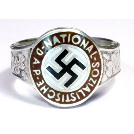 SILVER ENAMEL GERMAN NAZI NSDAP RING