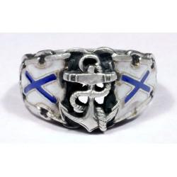 Sudraba gredzens ar krievu jūrnieku emblēmu