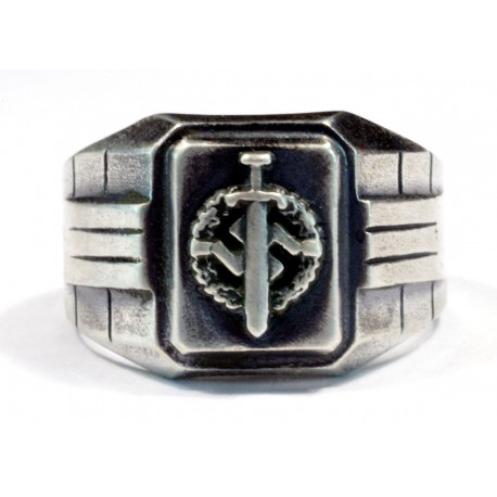 Silver SA Defence Badge ring
