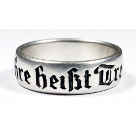 German silver ring with logo