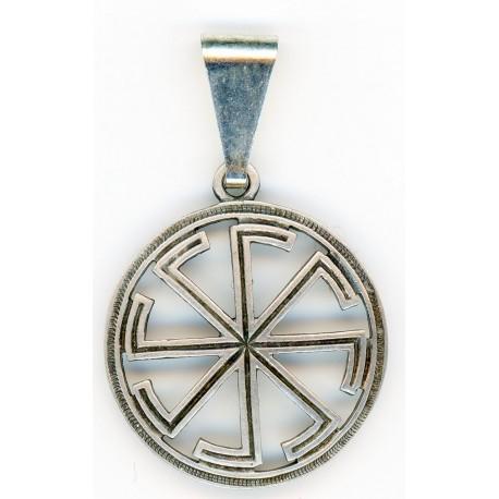 Silver Slavic Pendant Kolovrat Sun