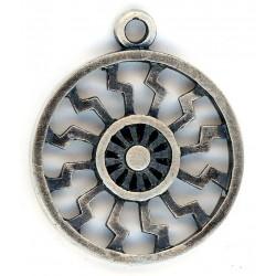 Black Sun (occult symbol) silver pendant