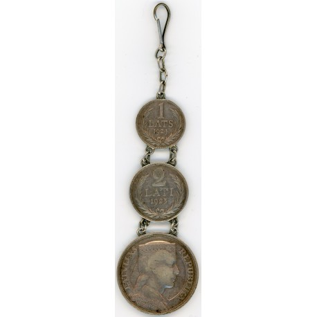 Silver Pocket Watch Fob Latvian Silver Coins
