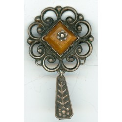 Latvian Silver Amber Ethnic Pin Ouch