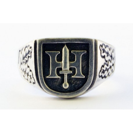 "WW II GERMAN 9TH PANZER DIVISION ""HOHENSTAUFEN"" SILVER RING"