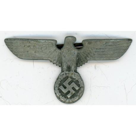 WWII German Aluminum Army Visor Hat Eagle Insignia