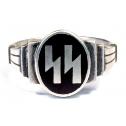 German WW2 Silver SS Runes Ring