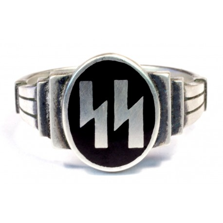 German WW2 Silver SS Runes Ring