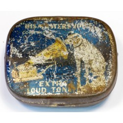 Vintage His Master's Voice 'half tone' gramophone needle tin blue