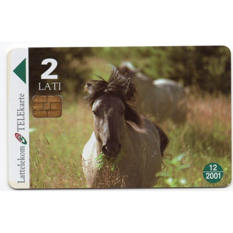 Latvian phone card Lattelekom Horses WWF