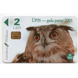 Latvian phone card Lattelekom Ūpis - gada putns 2001