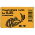 Latvian prepaid  calling card TELE 2 Ls.1.75