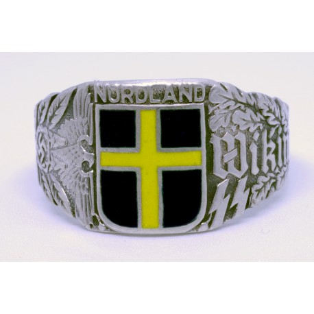 STERLING SILVER GERMAN NAZI WIKING SS NORDLAND ENAMELED RING