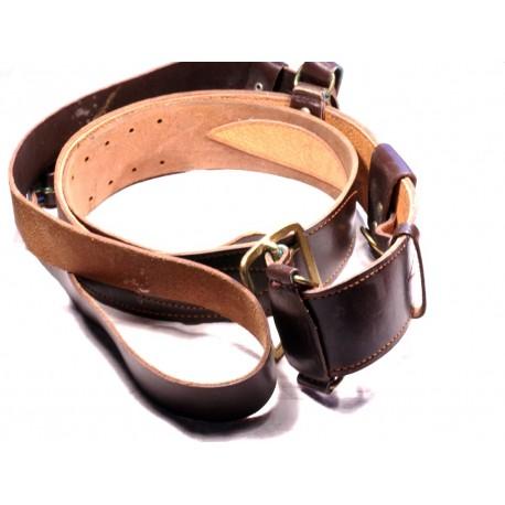 Military Russian Army Soviet officer leather belt shoulder strap USSR Portupeya