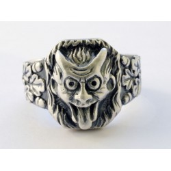 WW II German devil face silver ring
