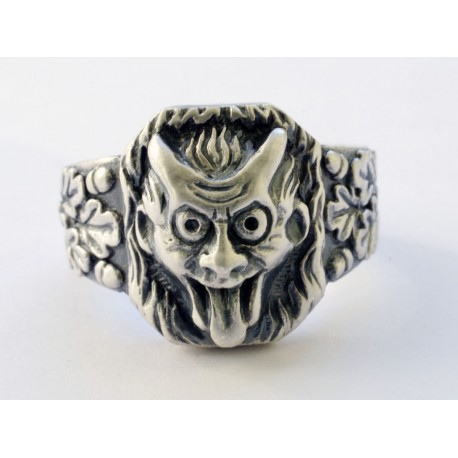 WW II German devil face silver ring.