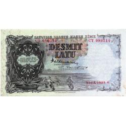 Latvia 10 Latu 1939 VF CRISP Banknote P-29c