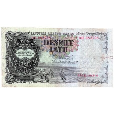 Latvia 10 Latu 1940 VF CRISP Banknote P-29e